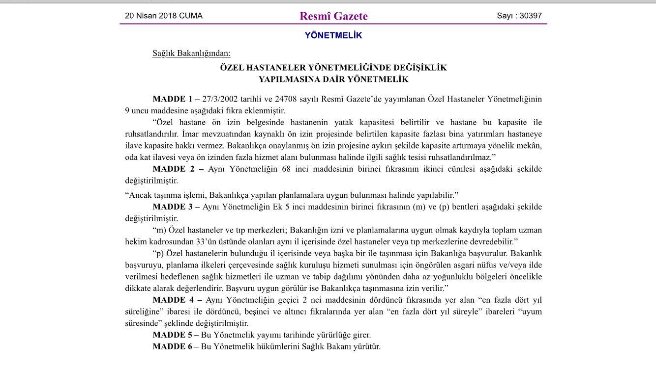 Özel Hastane Yönetmelik Değişikliği 20.01.2018